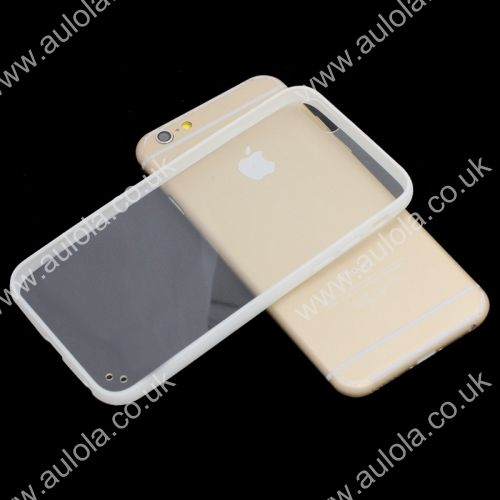Transparent PC Back + White TPU Border Case Cover for 4.7 Inch iPhone 6