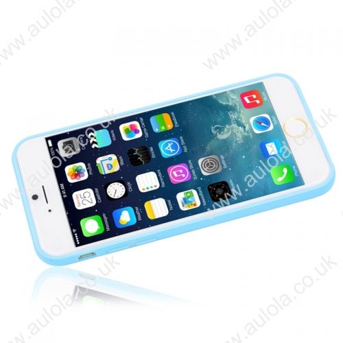"Transparent PC Back + Light Blue TPU Border Case Cover for 5.5"" Inch iPhone 6 Plus"