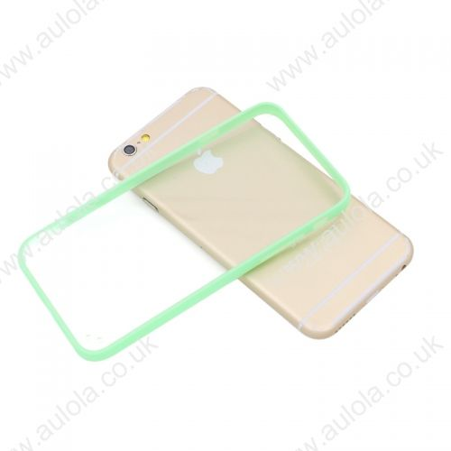 """Transparent PC Back + Light Green TPU Border Case Cover for 5.5"""" Inch iPhone 6 Plus"""