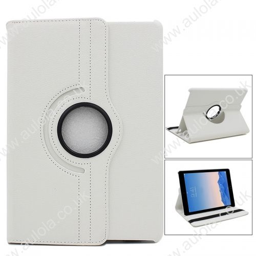 360 Rotation PU Leather Case Cover for iPad Air 2- White