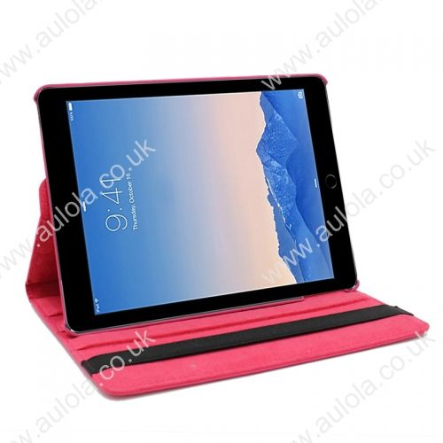 360 Rotation PU Leather Case Cover for iPad Air 2- Rose Red
