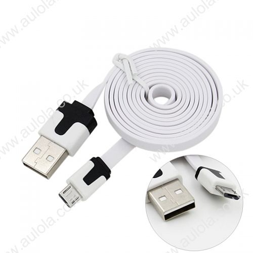 1M Micro USB Flat Noodle Charger Data Cable Cord for Samsung Note 2/HTC/LG- White