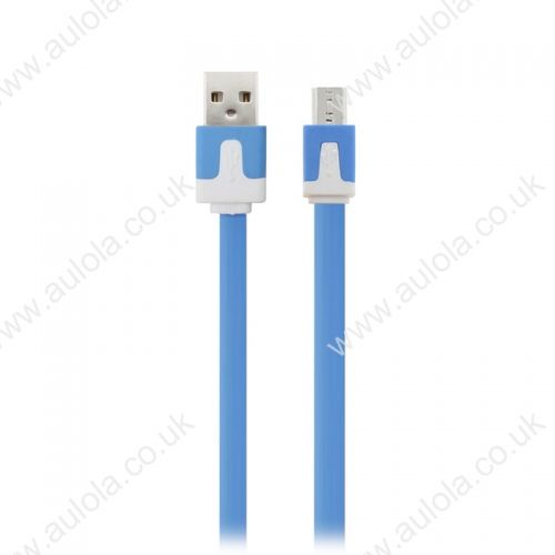 1M Micro USB Flat Noodle Charger Data Cable Cord for Samsung Note 2/HTC/LG- Blue