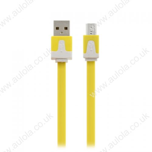1M Micro USB Flat Noodle Charger Data Cable Cord for Samsung Note 2/HTC/LG- Yellow