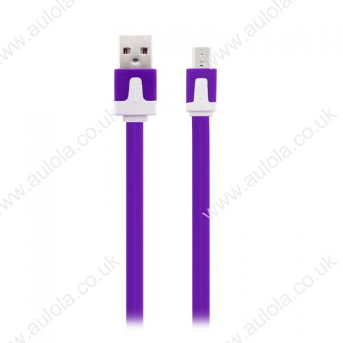1M Micro USB Flat Noodle Charger Data Cable Cord for Samsung Note 2/HTC/LG- Purple