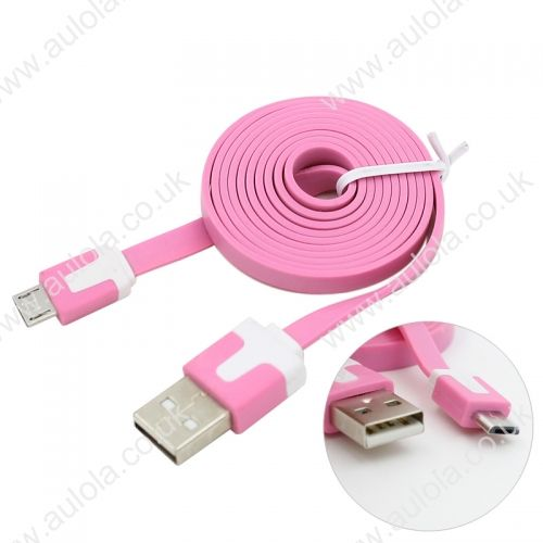 1M Micro USB Flat Noodle Charger Data Cable Cord for Samsung Note 2/HTC/LG- Pink