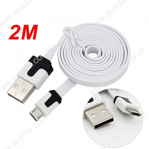 2M Micro USB Flat Noodle Charger Data Cable Cord for Samsung Note 2/HTC/LG- White