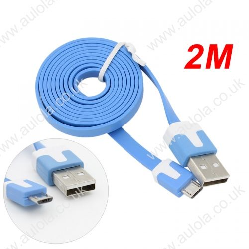 2M Micro USB Flat Noodle Charger Data Cable Cord for Samsung Note 2/HTC/LG- Blue