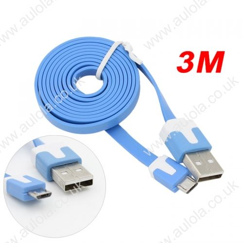 3M Micro USB Flat Noodle Charger Data Cable Cord for Samsung Note 2/HTC/LG- Blue