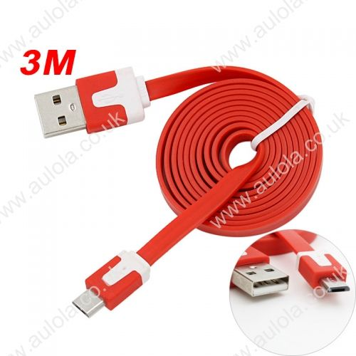 3M Micro USB Flat Noodle Charger Data Cable Cord for Samsung Note 2/HTC/LG- Red