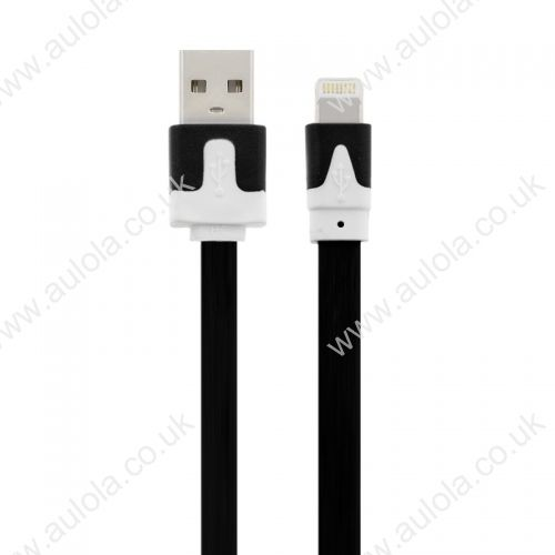 1M Flat Noodle 8 Pin USB Data Charger Cable for iPhone X 8 7 Plus 6 5 - Black