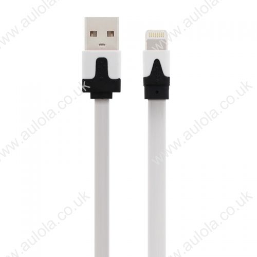 1M Flat Noodle 8 Pin USB Data Charger Cable for iPhone X 8 7 Plus 6 5 - White