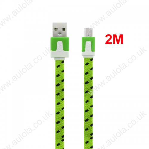 2M Flat Bicolor Braided Micro USB Sync Charger Data Cable - Green