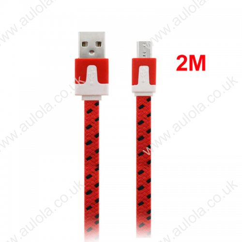 2M Flat Bicolor Braided Micro USB Sync Charger Data Cable - Red