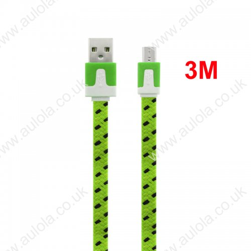 3M Flat Bicolor Braided Micro USB Sync Charger Data Cable - Green