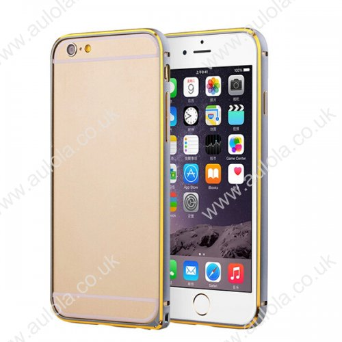 "Slim Border Shockproof Bumper Frame Case with Golden Borders for 5.5"" Inch iPhone 6 Plus- Grey"