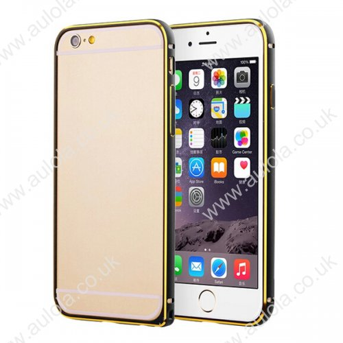 "Slim Border Shockproof Bumper Frame Case with Golden Borders for 5.5"" Inch iPhone 6 Plus- Black"