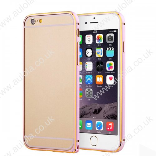 "Slim Border Shockproof Bumper Frame Case with Golden Borders for 5.5"" Inch iPhone 6 Plus- Pink"