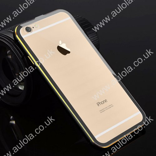 "Luxury Aluminum Border Gilt Frame Transparent Back Case Cover For iPhone 6 4.7"" - Black"