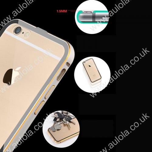 "Luxury Aluminum Border Gilt Frame Transparent Back Case Cover For iPhone 6 4.7"" - Silver"