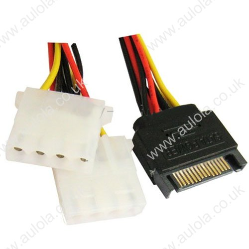 15 Pin to 2 x 4 Pin SATA Power Molex Power Y-Cable
