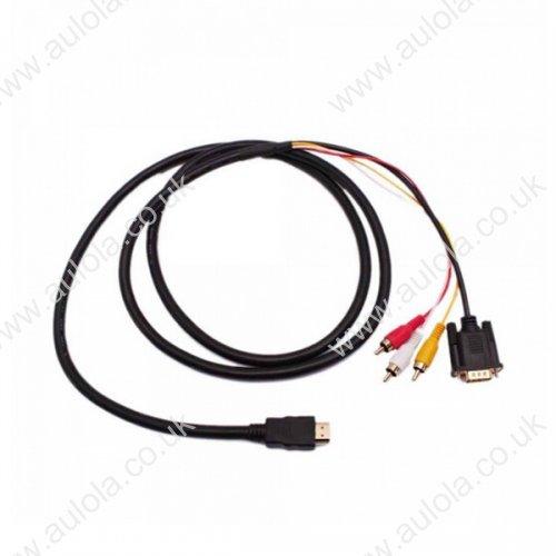 1.5m HDMI to VGA + 3RCA Converter Adapter Cable