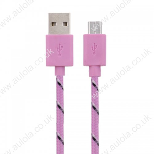 1M Length Micro USB Knitted Power & Data Cable- Pink