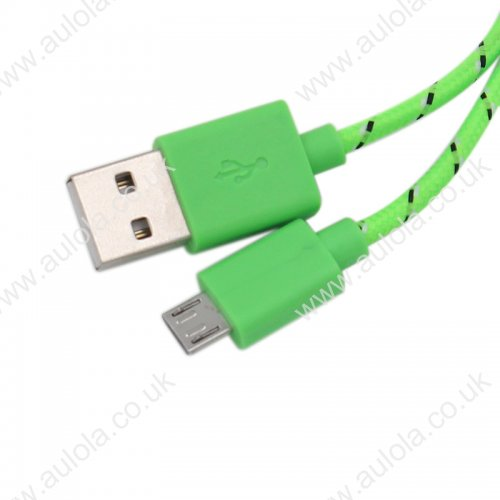 1M Length Micro USB Knitted Power & Data Cable- Green
