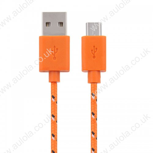 1M Length Micro USB Knitted Power & Data Cable- Orange