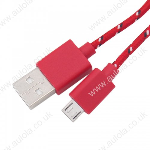 1M Length Micro USB Knitted Power & Data Cable- Red