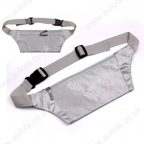 Adjustable Outdoor Use Waterproof Close-fitting Waist Bag Pouch - Silver