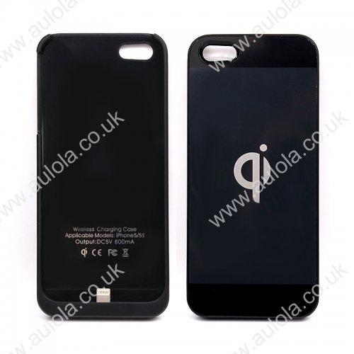Wireless Charging Receiver Case Cover for iPhone 5/5S - Black