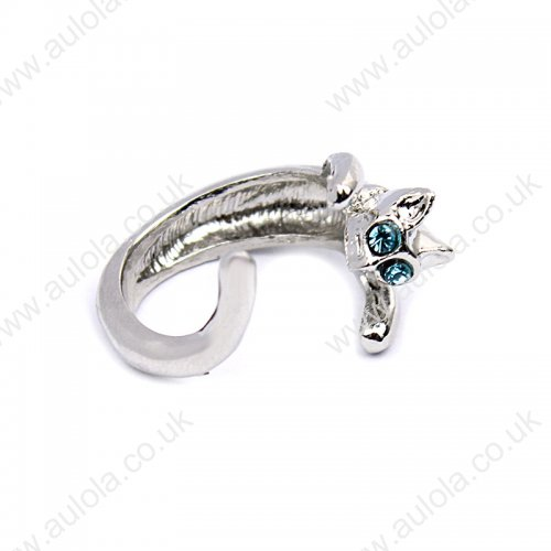 Silver Cat Shaped Finger Ring With Blue Eyes - Adjustable and Resizeable