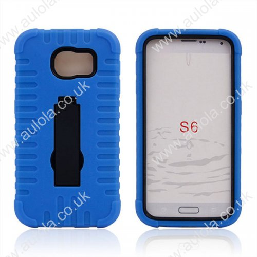 Three Layers Bumper Case with Foldable Holder for Samsung Galaxy S6 -Blue