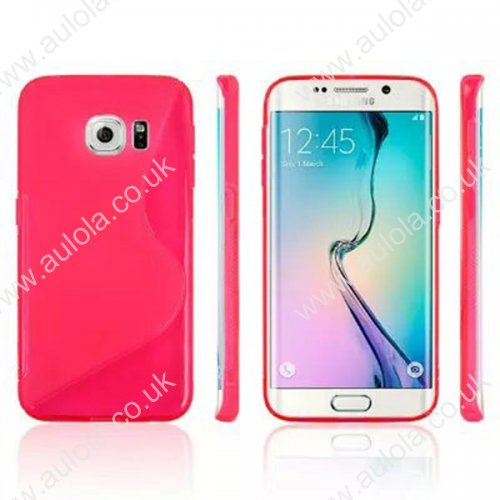 S Shape Wave TPU Soft Case for Samsung Galaxy S6 Edge -Red