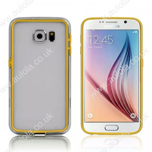 Color Border + Transparent Back 2 in 1 Case for Samsung Galaxy S6 - Yellow