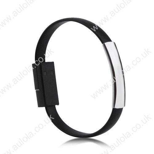Micro USB Bracelet Style Wearable Data Charging Cable - Black