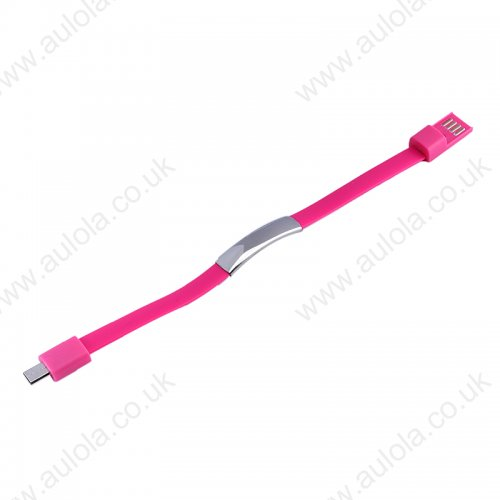 Micro USB Bracelet Style Wearable Data Charging Cable - Pink