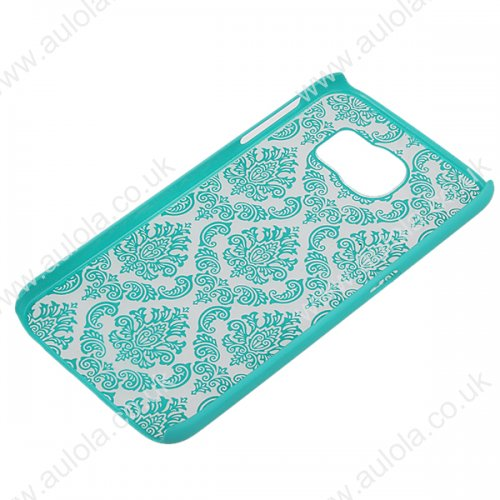 Floral Printed Vintage Style Phone Hard Case for Samsung Galaxy S6 -Aqua Blue