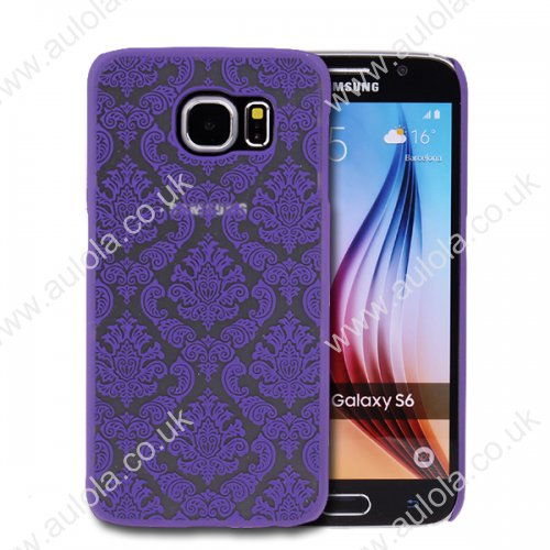 Floral Printed Vintage Style Phone Hard Case for Samsung Galaxy S6 -Purple