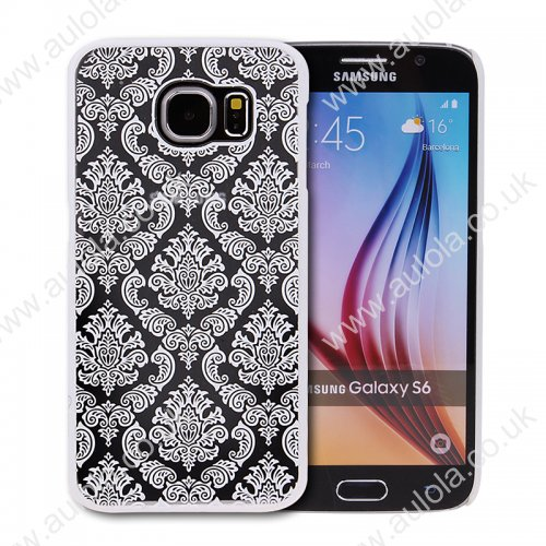 Floral Printed Vintage Style Phone Hard Case for Samsung Galaxy S6 -White