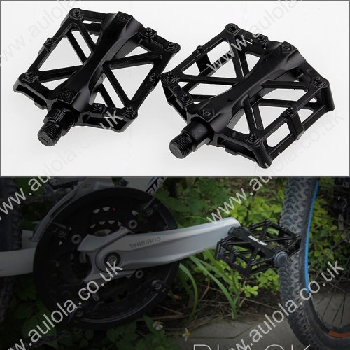 2x Cycling Mountain Bike Bicycle Flat-Platform Aluminum Alloy Pedals - Black