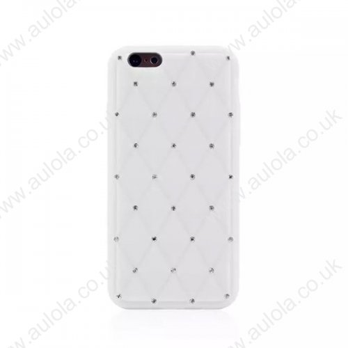 Rhombus Plaid with Crystal Bling Case for iPhone 6 4.7 - White