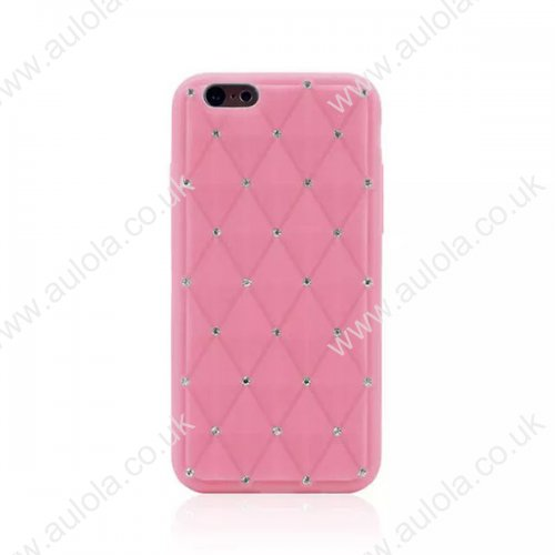 Rhombus Plaid with Crystal Bling Case for iPhone 6 4.7 - Pink