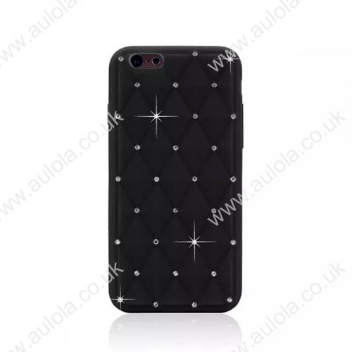 Rhombus Plaid with Crystal Bling Case for iPhone 6 4.7 - Black