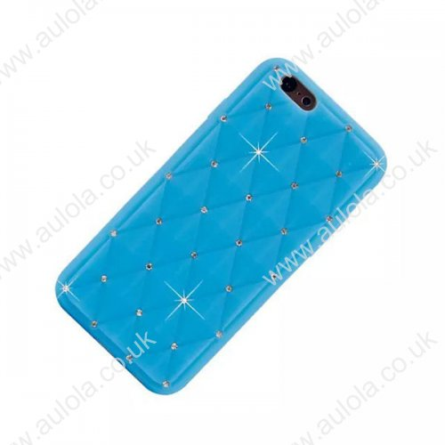 Rhombus Plaid with Crystal Bling Case for iPhone 6 4.7 - Blue