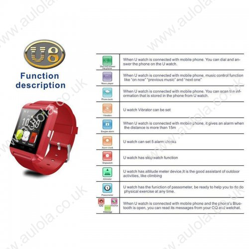 U8 Uwatch Bluetooth V4.0 Smart Watch Wristband for Android & iOS -Red