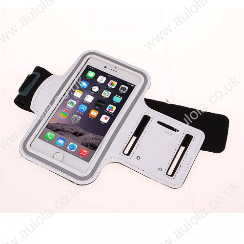 Adjustable Armband Armlet Velcro Strap for iPhone 6 4.7 - White