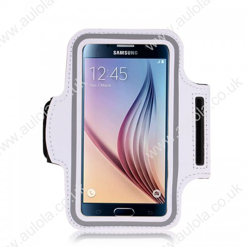 Adjustable Armband Armlet Velcro Strap for Sumsang S6/ S6 Edge - White