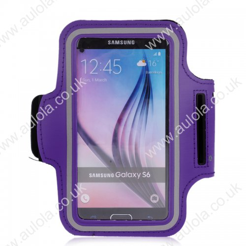 Adjustable Armband Armlet Velcro Strap for Sumsang S6/ S6 Edge - Purple